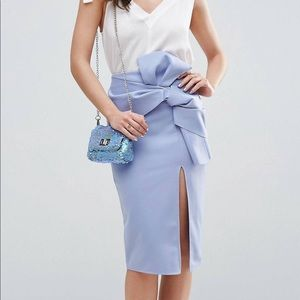 Scuba pencil skirt with bow detail